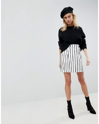 ASOS DESIGN Asos Tailored Ruffle Paperbag Waist A Line Mini Skirt In Stripe