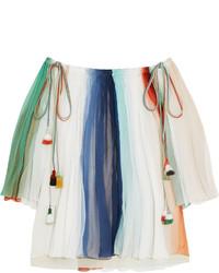 Chloé Off The Shoulder Striped Silk Georgette Top Mint