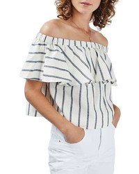 Stripe off the shoulder crop top medium 728919