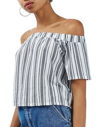 Topshop Stripe Off The Shoulder Top