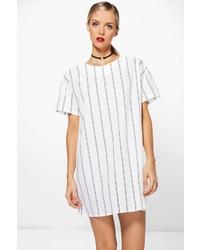 White Vertical Striped Shift Dress