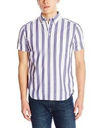 White Vertical Striped Short Sleeve Shirt