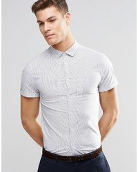 Asos Brand Skinny Shirt In Fine Stripe With Short Sleeves