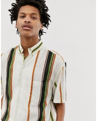 Weekday Mack Short Sleeve Stripe Shirt In White