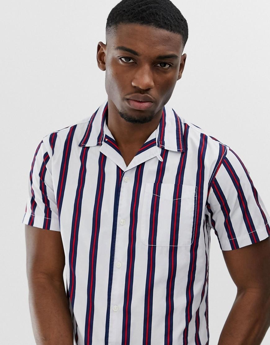 Jack & Jones Originals Short Sleeve Revere Collar Shirt With Vertical Stripe