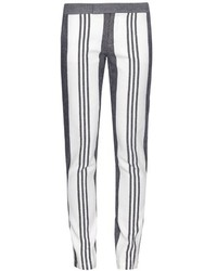 White Vertical Striped Skinny Pants