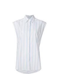White Vertical Striped Sleeveless Button Down Shirt