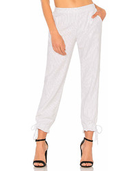 White Vertical Striped Tapered Pants