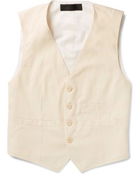 Haider Ackermann White Cotton Twill Waistcoat