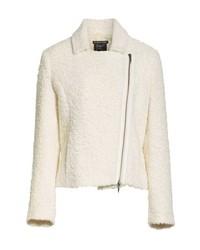 White Wool Biker Jacket