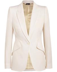 Alexander McQueen Wool Piqu Blazer White