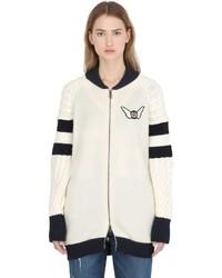 White Wool Bomber Jacket