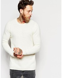 Asos Lambswool Rich Crew Neck Sweater With Rolled Edge