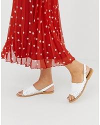 ASOS DESIGN Fraction Leather Woven Flat Sandals