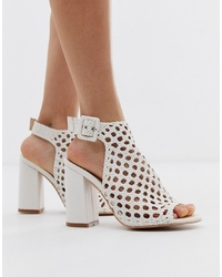 SIMMI Shoes Simmi London Gianna White Woven Block Heeled Sandals