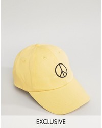 3a99d0bb5a3 Reclaimed Vintage Inspired Baseball Cap With Peace Sign Embroidery