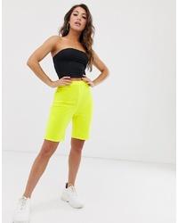 Missguided Velvet Legging Shorts In Neon Yellow