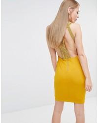TFNC High Neck Bodycon Mini Dress With Gold Embellisht