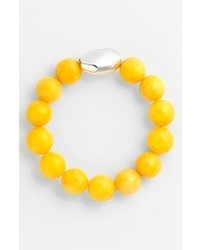 Stretch bracelet silver faceted yellow jade medium 66598