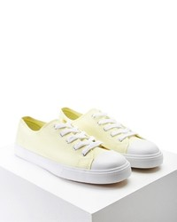 Yellow Canvas Low Top Sneakers