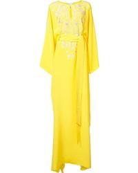 Oscar de la Renta Split Neck Caftan Dress