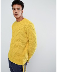 ASOS DESIGN Heavyweight Chenille Jumper In Yellow
