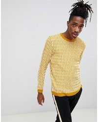 ASOS DESIGN Knitted Jumper With Textured Pattern In Mustard