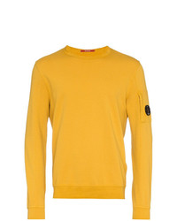 CP Company Yellow Logo Embellished Cotton Sweater