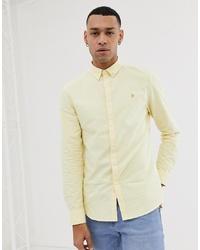 Farah Brewer Slim Fit Oxford Shirt In Yellow