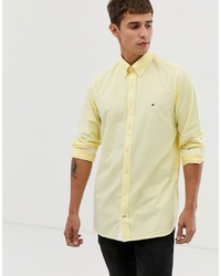 Tommy Hilfiger Oxford Shirt Slim Fit With Pique Flag Logo In Yellow