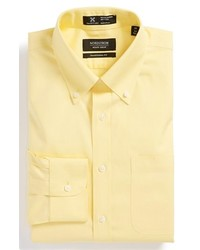 Nordstrom Smartcare Wrinkle Free Traditional Fit Pinpoint Dress Shirt Yellow Lemon 185 37
