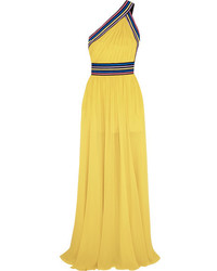 Elie Saab One Shoulder Grosgrain Trimmed Silk Georgette Gown Yellow