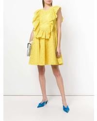 MSGM Eyelet Ruffled Front Sleeveless Day Dress