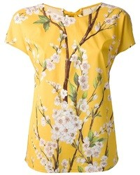 Yellow Floral Crew-neck T-shirt