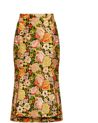 Balenciaga Kick Hem Embroidered Silk Skirt