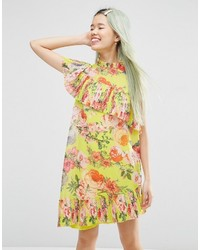 Asos Collection Pleated Shift Dress In Bright Acid Floral
