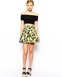Yellow Floral Skater Skirt