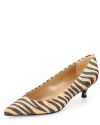 Yellow Horizontal Striped Leather Pumps