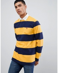 Yellow Horizontal Striped Polo Neck Sweater