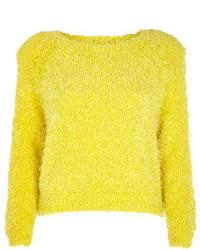 Yellow Knit Cropped Sweater
