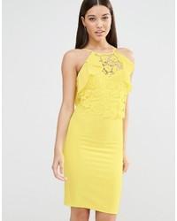 Lipsy Ruffle Lace Bodycon Dress