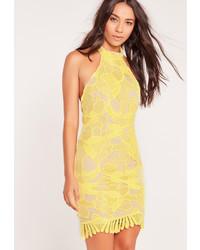 Missguided Lace Choker Bodycon Dress Yellow