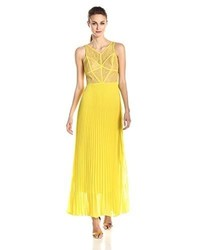 BCBGMAXAZRIA Rosalie Lace And Pleated Gown