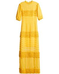 Emilio De La Morena Oralie Frill Trimmed Silk Chiffon Gown