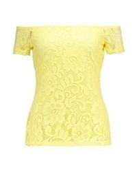 Dorothy Perkins Bardot Print T Shirt Yellow