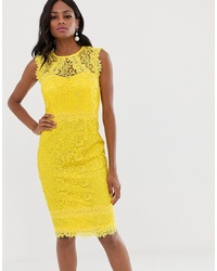 Paper Dolls Lace Midi Dress With In Lemon