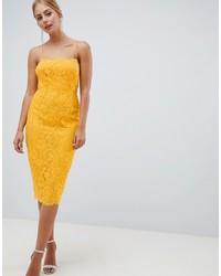 ASOS DESIGN Square Neck Pencil Dress In Lace