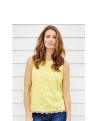 Yellow Lace Sleeveless Top