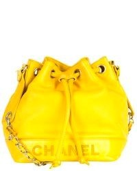 Yellow Leather Bucket Bag