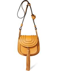 Hudson mini whipstitched leather shoulder bag saffron medium 751573